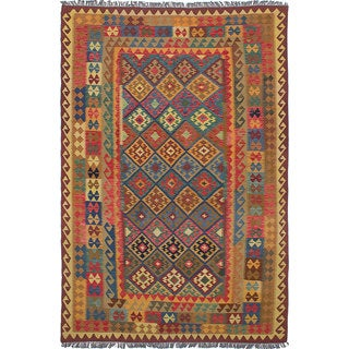 ecarpetgallery Hand-Woven Sivas Brown, Red Wool Kilim (6'8 x 10'2)