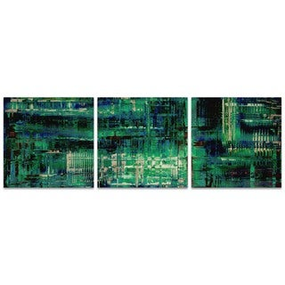 Nicholas Yust 'Aporia Blue Triptych Large' Teal Metal Art on Metal or Acrylic