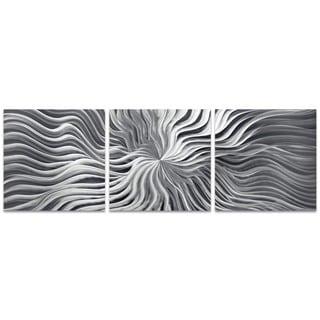 Nicholas Yust 'Flexure Triptych' Wavy Starburst Art on Metal or Acrylic