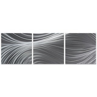 Nicholas Yust 'Passing Currents Triptych Large' Flowing Metal Art on Metal or Acrylic