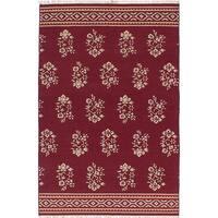 ecarpetgallery Hand-Woven Izmir Kilim Red  Wool Kilim (5'2 x 7'10)