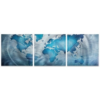 Amber LaRosa 'Land and Sea Triptych Large' World Map Art on Metal or Acrylic