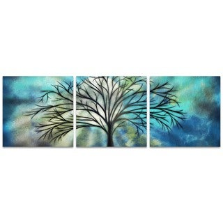 Stephanie Fields 'Moonlight Triptych Large' Whimsical Tree Art on Metal or Acrylic