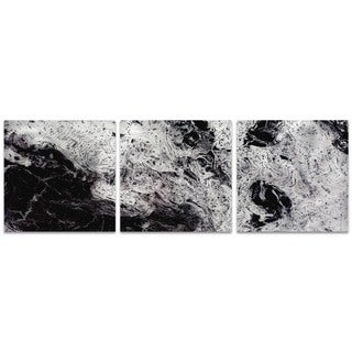 Emley 'Storm Black Triptych Large' Black Metal Art on Metal or Acrylic