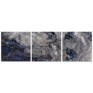 Emley 'Storm Blue Triptych Large' Blue Metal Art on Metal or Acrylic