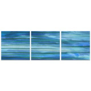 Amber LaRosa 'Ocean View Triptych Large' Blue Metal Art on Metal or Acrylic