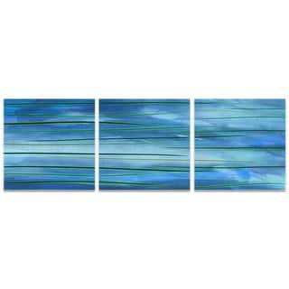 Amber LaRosa 'Ocean View Triptych' Blue Art on Metal or Acrylic