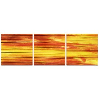 Amber LaRosa 'Momentum Triptych' Orange Art on Metal or Acrylic