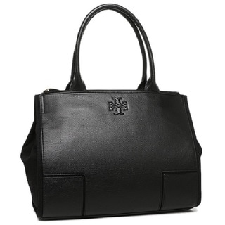 Tory Burch Ella Black Canvas and Leather Tote Handbag