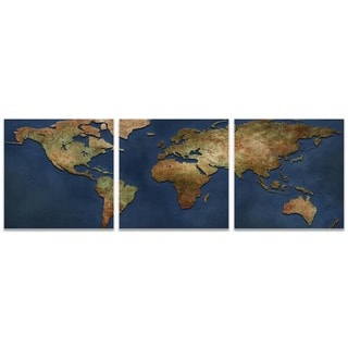 Ben Judd '1800s World Map Triptych Large' World Map Art on Metal or Acrylic