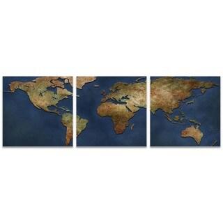Ben Judd '1800s World Map Triptych' World Map Art on Metal or Acrylic