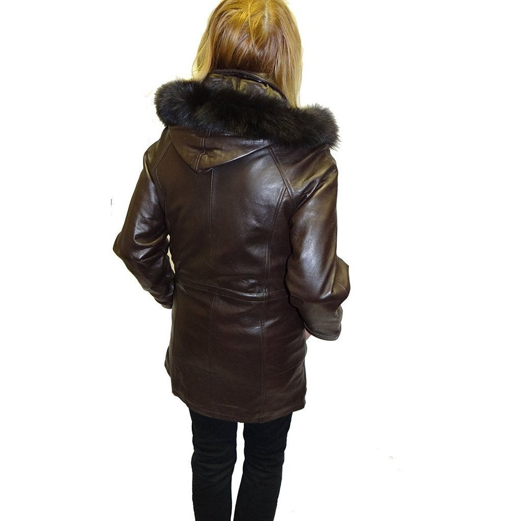 3b03db019 Knoles & Carter Women's Black Lambskin Leather and Fox Fur Hooded Jacket