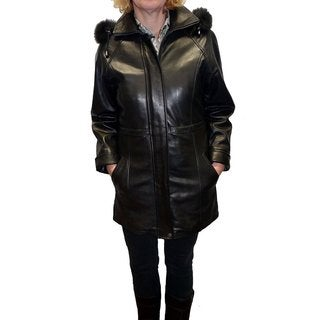 Knoles & Carter Women's Black Lambskin Leather and Fox Fur Hooded Jacket