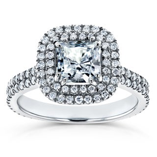 Annello by Kobelli 14k White Gold 7/8ct Forever One Moissanite and 3/4ct TDW Diamond Double Halo Engagement Ring