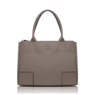 Tory Burch Ella French Grey Canvas and Leather Tote