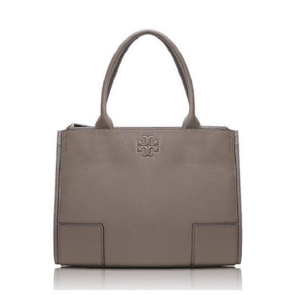 9d4c5a2da80d Shop Tory Burch Ella French Grey Canvas and Leather Tote - Free ...