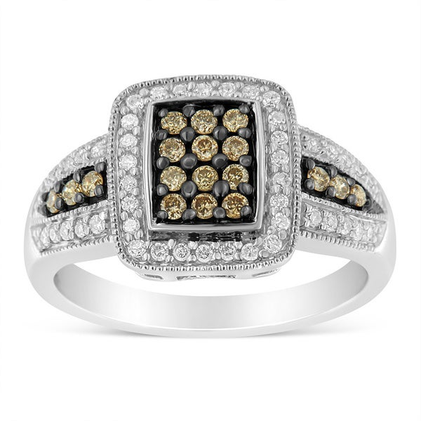 Shop Sterling Silver 075 Tdw White And Champagne Round Cut Diamond