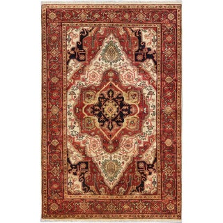 ecarpetgallery Hand-Knotted Serapi Heritage Blue, Brown Wool Rug (5'9 x 8'10)