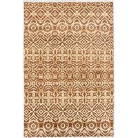 ecarpetgallery Hand-Knotted Finest Ushak Brown Wool Rug (5'10 x 8'8)
