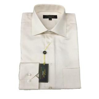 Polifroni Men's Ecru Off-white Cotton Long-sleeve Button-down Shirt