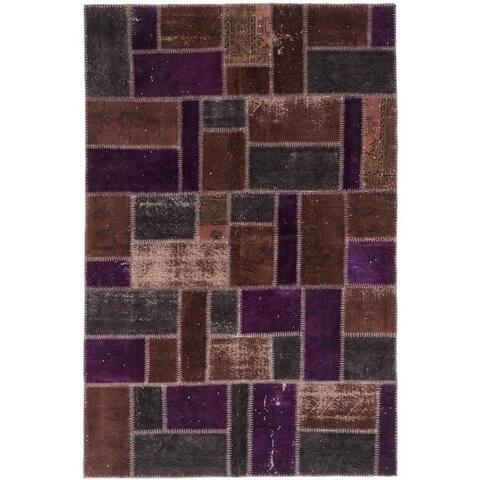 Hand-knotted Color Patchwork Black Wool Rug