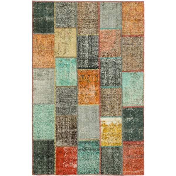 Hand-knotted Color Patchwork Black Wool Rug. Opens flyout.