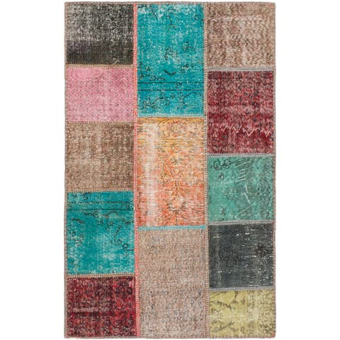 ecarpetgallery Hand-Knotted Color Transition Patch Wool Rug