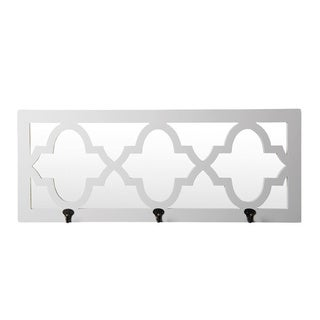 Privilege 3-hook Glossy White Wood Frame Wall Mirror