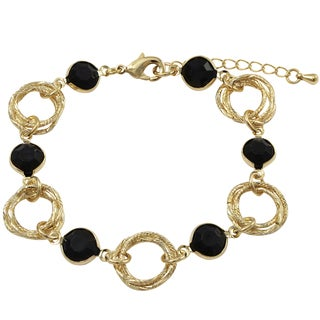 Luxiro Gold Finish Multicolor Stones Linked Circles Bracelet
