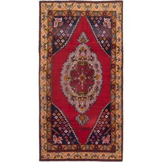 ecarpetgallery Hand-Knotted Anadol Vintage Red Wool Rug (4'8 x 9'0)
