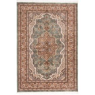ecarpetgallery Hand-Knotted Kashmir Green Wool Rug (5'0 x 7'4)