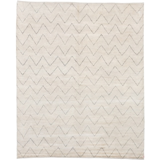 ecarpetgallery Hand-Knotted Royal Maroc Blue, Grey Wool Rug (8'1 x 9'10)