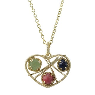 Luxiro Gold Finish Sterling Silver Semi-precious Gemstones Heart Pendant Necklace