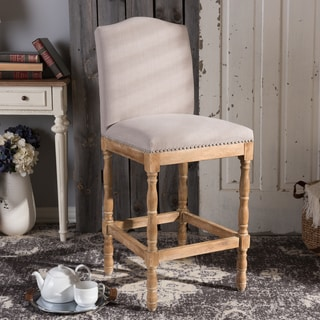 "Vintage Beige Fabric 30"" Bar Stool by Baxton Studio"