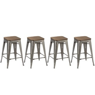 Industrial Distressed Wood Seat and Antique Metal 24-inch Stackable Counter Bar Stool (Set of 4)
