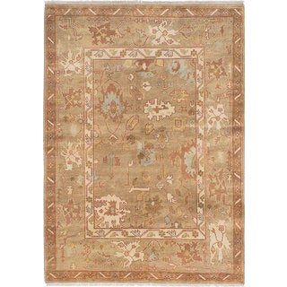 ecarpetgallery Hand-Knotted Royal Ushak Brown Wool Rug (6'2 x 9'0)