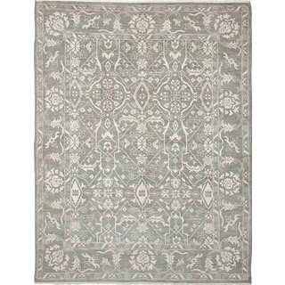 ecarpetgallery Hand-Knotted Finest Ushak Grey Wool Rug (8'9 x 11'4)