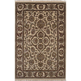 ecarpetgallery Hand-Knotted Sultanabad Ivory Wool Rug (6'0 x 9'3)