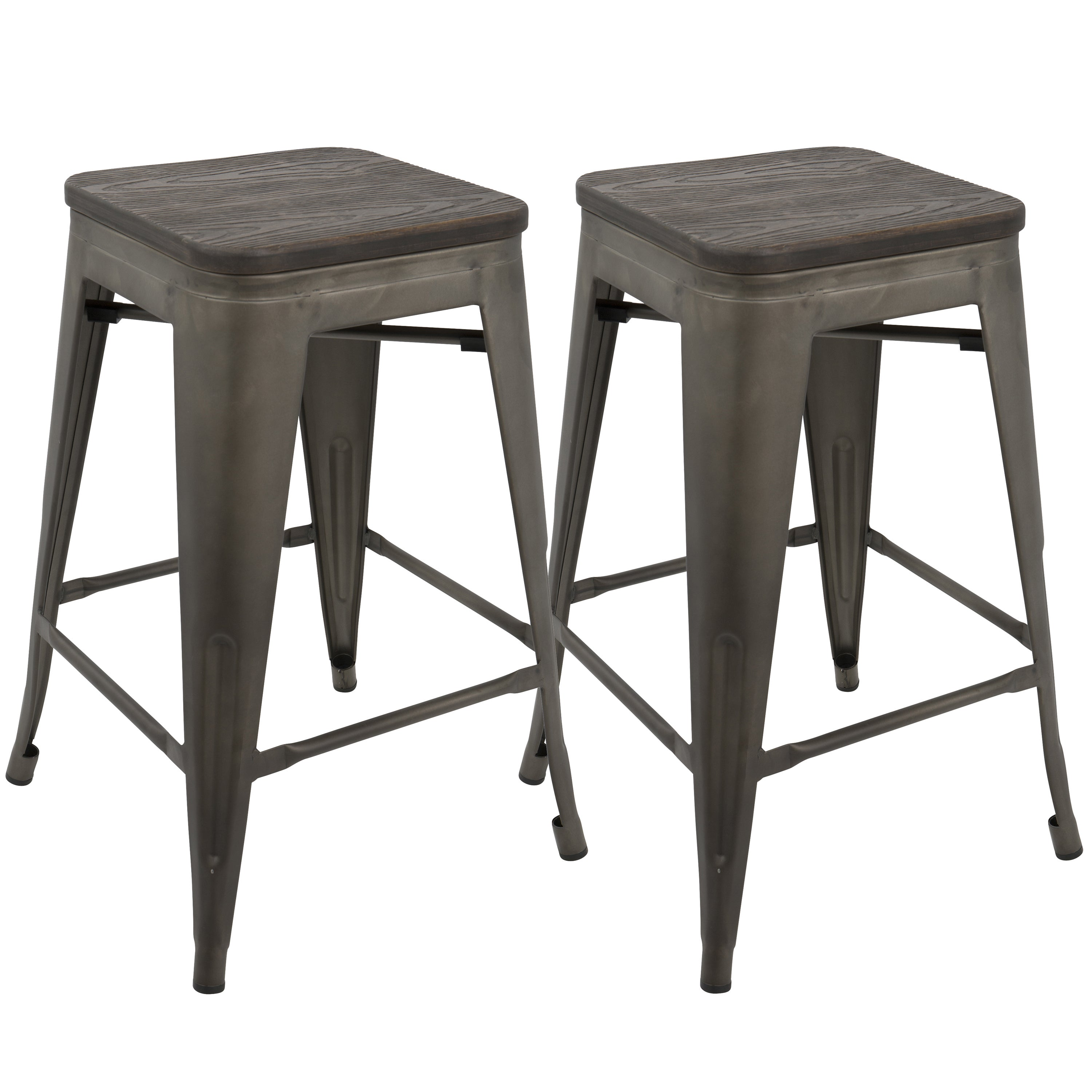 Oregon Industrial Stackable 24 Inch Counter Stool Set Of 2 Ebay