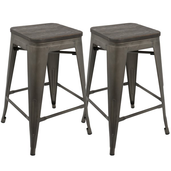 Shop Oregon Industrial Stackable 24 Inch Counter Stool Set Of 2