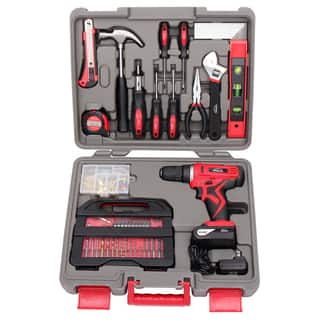 Apollo 143-piece Household Tool Kit with 10.8-volt Lithium-ion Cordless Drill|https://ak1.ostkcdn.com/images/products/13446158/P20136601.jpg?impolicy=medium
