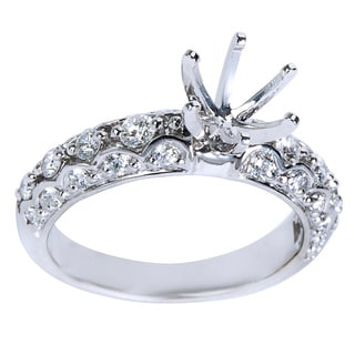 14K White Gold .64ct TDW Round Diamond Engagement Setting (Center Stone Note Included)