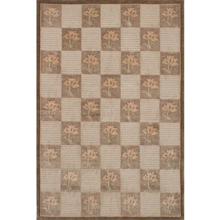 ecarpetgallery Hand-Knotted Karma Brown, Green Wool Rug (6'1 x 9'1)