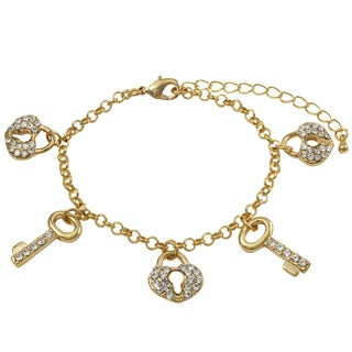 Luxiro Gold Finish Pave Crystals Heart Lock and Key Children's Charm Bracelet