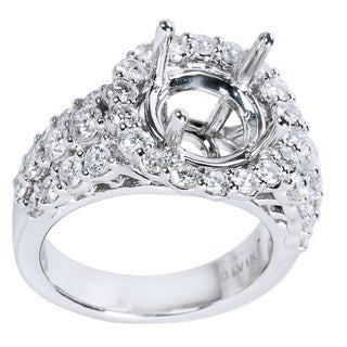 14K White Gold 1.55ct TDW Round Diamond Engagement Setting (Center Stone Note Included)
