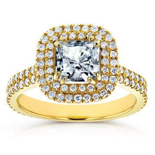 Annello by Kobelli 14k Yellow Gold 7/8ct Forever One Moissanite and 3/4ct TDW Diamond Double Halo Engagement Ring