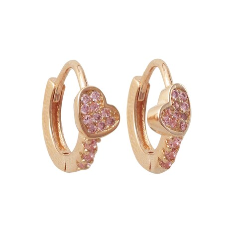 Luxiro Rose Gold Finish Sterling Silver Cubic Zirconia Heart Children's Hoop Earrings