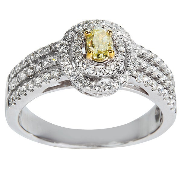 14K White Gold 1ct TDW Round White And Yellow Diamond Halo Engagement Ring (Yellow)