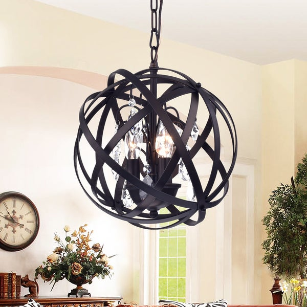 Deadra Antique Bronze-finish Metal 13-inch Globe Cage Pendant