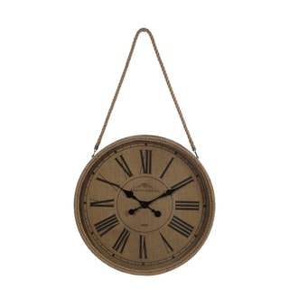 Privilege Brown Wood Wall Clock with Rope